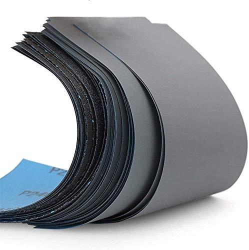 Schleifpapier Set, Körnung von 120 bis 10000, Wasserfest Nass & Trocken für automatisiertes Schleifen, Holz, Stein, Lack, Metall,Autos9 x 3,6 Zoll.(51 Stück)