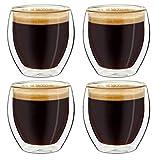Creano Set di 4 Bicchieri da caffè Espresso a Doppia Parete, Bicchieri Termici con Effetto Galleggiante | 100ml