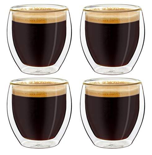 Creano doppelwandige Espresso-Gläser, 4er-Set 100ml Thermo-Gläser mit Schwebe-Effekt