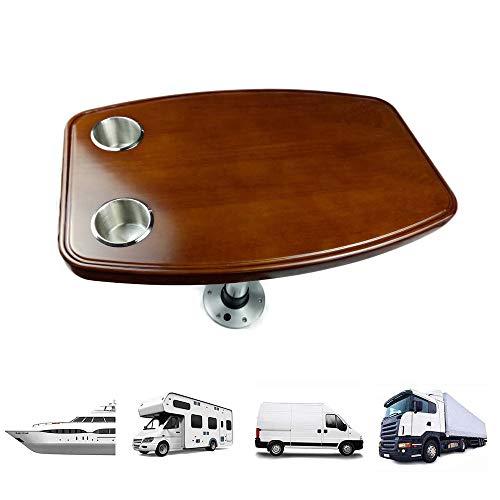 Tischplatte für Wohnwagen/Wohnmobiltisch, Tischplatte aus Eichenholz mit Becherschlitz, mit Anhebbaren Beinen, Zubehör für Wohnmobile Einrichtungsgegenstände Innenzubehör,A-600×380mm