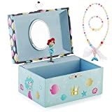 Kids Musical Jewelry Box for Girls and Jewelry Set with Lovely Mermaid Theme - Beautiful Dream Tune Blue
