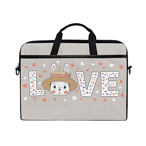 AGONA Cute Rabbit Bunny Love Slogan Laptop Shoulder Messenger Bag 15 inch Case Sleeve for 14 Inch Laptop Case Laptop Briefcase Compatible Notebook MacBook Ultrabook Chromebook
