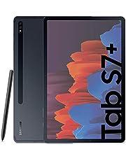 Samsung Galaxy Tab S7+ Tablet S Pen, Snapdragon 865 Plus, display 12,4 inch WQXGA SuperAMOLED 128GB uitbreidbaar tot 1TB, RAM 6GB, batterij 10,090 mAh, 5G, Android 10, Mystic Black [Italiaanse versie]