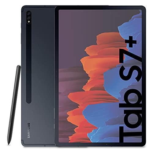 "Samsung Galaxy Tab S7+ Tablet S Pen, Snapdragon 865 Plus, Display 12.4"" WQXGA SuperAMOLED, 128GB Espandibili fino a 1TB, RAM 6GB, 10.090 mAh, 5G, Android 11, Nero (Mystic Black) [Versione Italiana]"