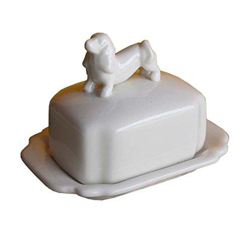 Creative Design Beurre Porcelaine Plat garde Beurre décoratif avec couvercle animal couverture, chien