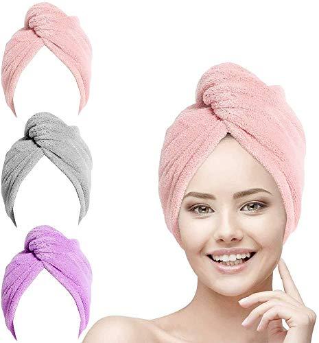 URAQT Cheveux Serviette, 3pcs Cheveux Séchage Serviettes, Super Absorbant en Microfibre Serviette pour Cheveux Turban avec Bouton de Design Cheveux Secs Rapidement pour Femmes (Rose, Violet, Gris)