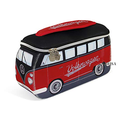 BRISA VW Collection Volkswagen VW T1 Bus Transporter 3D Neopreen Universele Zak - Rood/zwart