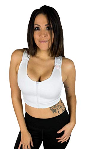 Post Surgical Comfort Compression Sports Bra: White Dragonfly - XL