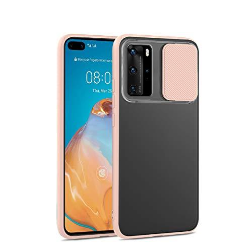 Dqtaoply Hülle Kompatibel mit Huawei P40 Pro Stylisch Schutzhülle mit Kamera Objektivschutz Abdeckung Transluzent Matte Hart Handyhülle + TPU Silikon Bumper für Huawei P40 Pro (Pink)