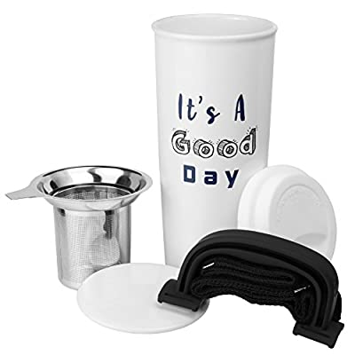 16 Oz Ceramic Tea Travel Cup With Infuser