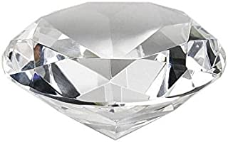 "Crystal Clear Faceted Diamond Shaped Paperweight Top Maybe Engraved Apx. 4"" Diameter"
