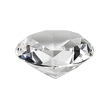 Crystal Clear Faceted Diamond Shaped Paperweight Top Maybe Engraved Apx. 4  Diameter