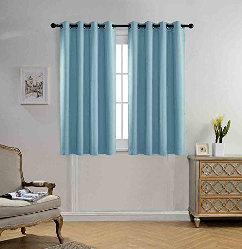 MIUCO Blackout Curtains Room Darkening Curtains Textured Grommet Panels Living Room 2 Panels 52x63 Inch Long Sky Blue