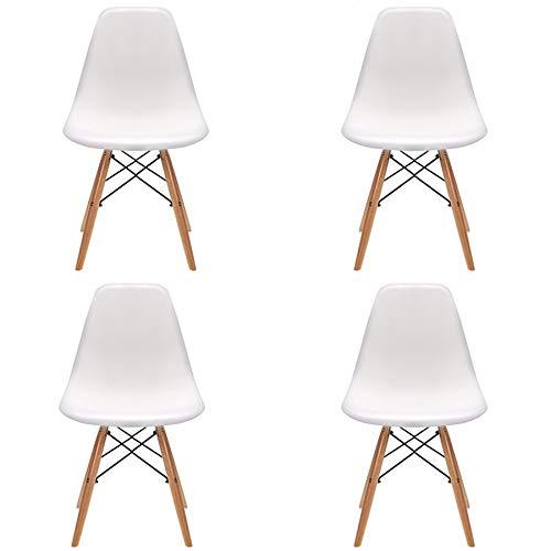 Pack 4/6 sillas de Comedor Silla diseño nórdico Retro Estilo (White-4)