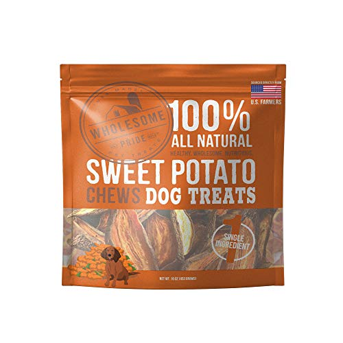 Wholesome Pride Sweet Potato Chews  All Natural Healthy Dog Treats  Vegan Gluten and GrainFree Dog Snacks 16 Ounce