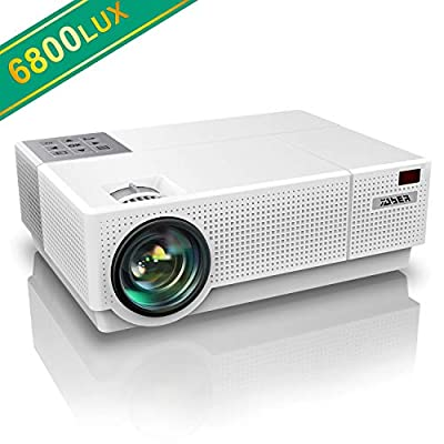 Projector, YABER Native 1920x 1080P Projector 6800 Lumens Upgrade Full HD Video Projector, ±45° 4D Keystone Correction,LCD LED Home & Outdoor Projector Compatible with Smartphone,PC,TV Box,PS4