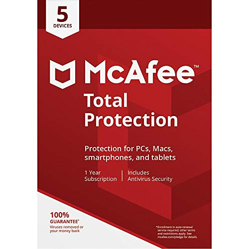 McAfee Total Protection, for PC or Mac 5 Devices, 1 Year Subscription