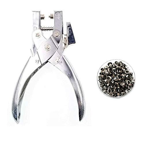 JZK Alicate sacabocados alicate perforador con 200 ojales de Plata para tela, cinturón, cuero manualidades
