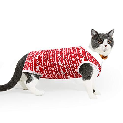 Lianzimau - Traje de recuperación de cirugía de gato para heridas abdominales quirúrgicas para el hogar o para mascotas de interior o para mascotas