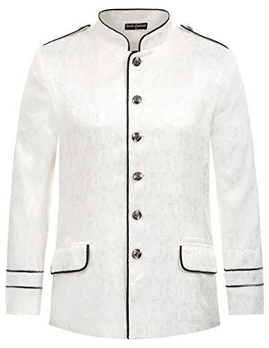 Men's Gothic Steampunk Military Blazer Jacket Pirate Costume White 2XL