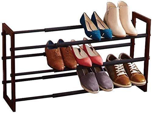 SHOE RACK Ausziehbarer Schuhregal 3 Hölzerne Ebenen Lagerschrank Korridor Verstellbar Kein Werkzeug Erforderlich (Farbe: Schwarz)
