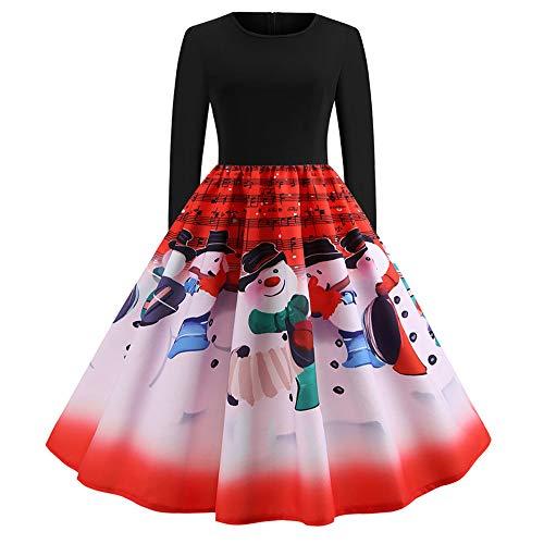 OverDose Damen Frohe Weihnachten Stil Frauen Vintage Print Langarm Weihnachten Abend Party Cosplay Elegante Slim Swing Kleid Geschenk(X-Rot,2XL)