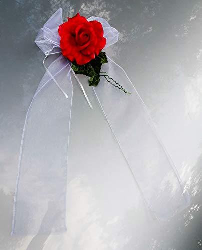 AMP Organza Schleifen mit Rose Autoschmuck Türgriff Schleifen Wedding Deko CarVarianten (4 Stück, Rot)