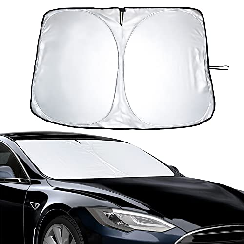EcoNour Tesla Windshield Sunshade for Model 3/Y/S/X 2018 2019 2020 2021 | Sun Visor Blocks UV Rays to Keep Your Vehicle Cool and Damage Free | Easy to Use Car Accessories | Best Fit for Tesla Cars