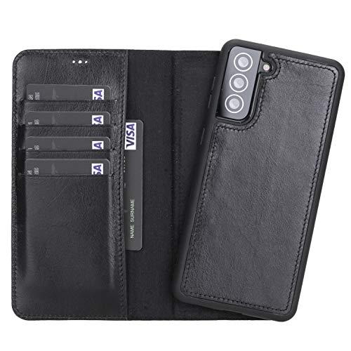 Funda para teléfono móvil compatible con Samsung S21 / Plus/Ultra de piel auténtica, funda extraíble con imán y tarjetero, hecha a mano, funda 2 en 1 (Samsung S21 Plus, color negro)