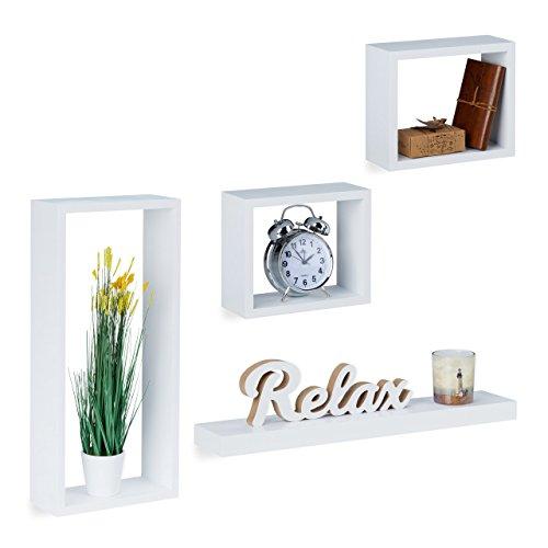 Relaxdays Wandregal 4er Set, Cube Regale Holz, Regalbrett freischwebend, stabile Hängeregale Kinderzimmer, MDF, weiß