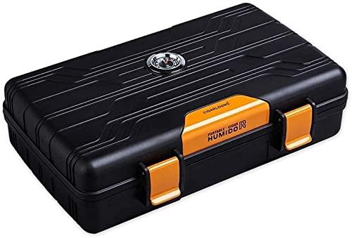 LIUYULONG humidor de Puros Caja de Soporte Impermeable de Humidor de Cigarro de Viaje Negro para 10cigars (Color : B)
