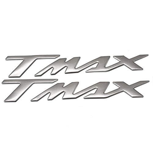 POLIPARTS Coppia Adesivi Stickers in Resina 3D Scritta TMAX Compatibile con YAMAHA T-MAX 500 530 (Silver)