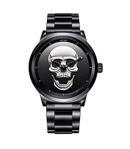 Neue Herrenuhr, Armbanduhr, Designer, wasserdicht, Herrenuhr, Stahlband, Totenkopf-Uhren, Analog-Armband, elegantes Geschenk