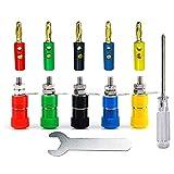 Aiqeer 20 Pares 4 mm Banana Conector Set, 20 Piezas Chapado Oro Banana Enchufe y 20 Piezas Binding Post Terminal Kit, para Altavoz, Audio/Video Receptor (Rojo, Amarillo, Azul, Verde, Negro)