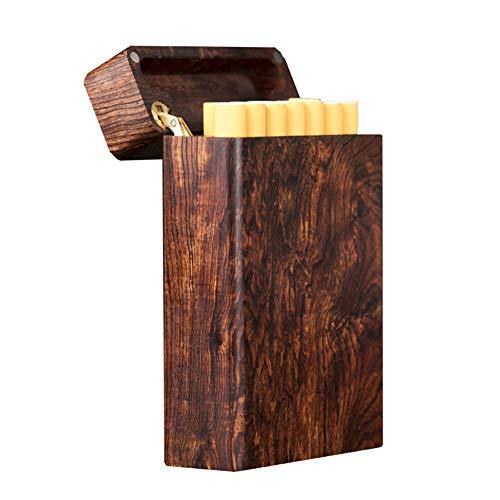 SMOKE-AED Zigarettenetui aus Holz Retro Ultraleicht tragbare Männer Zigarettenschachtel bietet Platz für 12