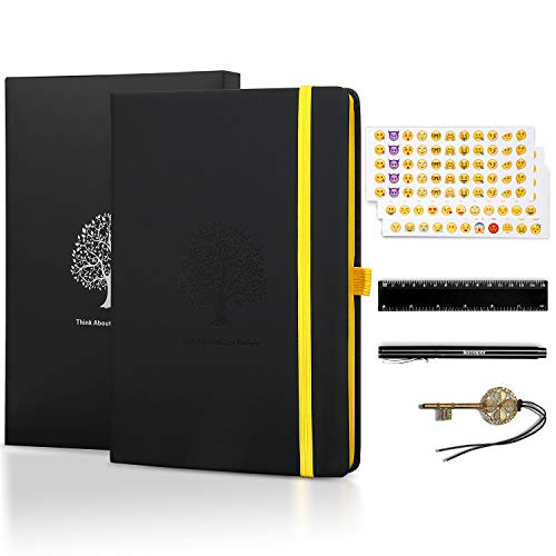 Dotted Bullet Journal, Sotor Liniertes Notizbuch, Prämie Dickes Papier 125G/m² A5 Tagebuch mit PU Leder + 1 Prämie Stift + 3 Emoji Aufkleber + 1 Lineal + 1 Lesezeichen + 1 Geschenk Kasten