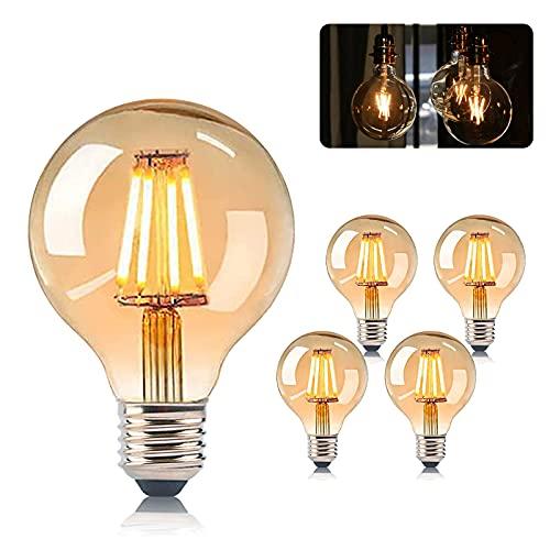 Edison Vintage Glühbirne, LED Hue E27 Lampe Warmweiß 2007K 4W Entspricht 60W, Retro Globe Dekorative G80 Glühlampe, Ideal für Nostalgie und Retro Beleuchtung Leuchtmitte im Familie Hotel Bar