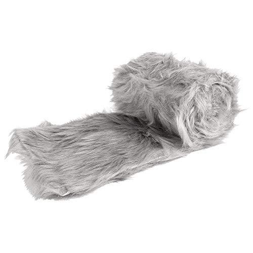 Ideen mit Herz Kunstfell-Band | Fellstoff | 12cm breit | 2m lang | ideal zum Basteln, Nähen, Dekorieren | Tischläufer (hellgrau)