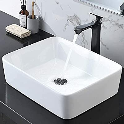 HOSINO Vessel Sink and ORB Faucet Drain Combo, 19x15 Inch Rectangle Bathroom Sink Above Counter Bathroom Vanity Sink Ceramic Bowl Sinks White Washing Basin Set