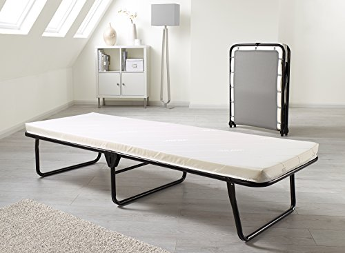 JAY-BE Value Folding Bed with Memory Foam Mattress and J -Tex sprung comfort base with Powder Coated Paint - Single, Black