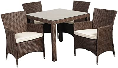Atlantic 5-Piece Grand New Liberty Deluxe Square Wicker Dining Set, Brown with Off-White Cushions