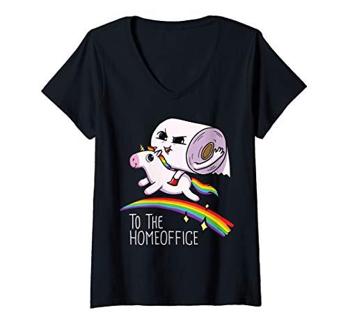 Damen Toilettenpapier Rolle reitet auf Einhorn TP Roll Unicorn T-Shirt mit V-Ausschnitt