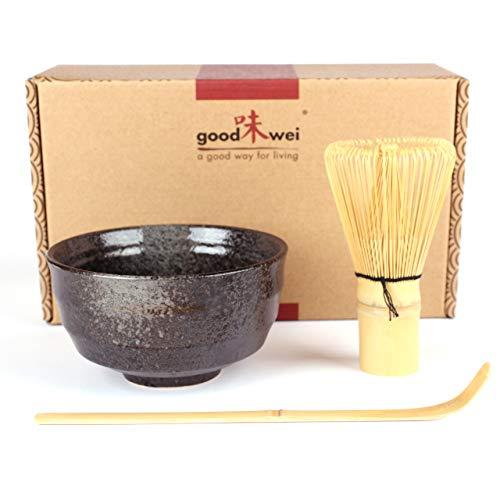 Goodwei Juego de Te Matcha – Bol de te y batidor incl. Caja de regalo (negro)