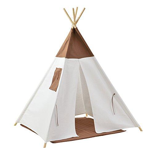[en.casa] Kinderzelt Braun/Weiß 150 x 120 x 120 cm Spielzelt Babyzelt Spielhaus Tipi Indianer Wigwam
