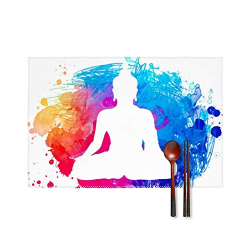 Rnivry Indian Buddha Yoga Zen Placemats Set of 4 Non Slip Place Mats Heat-Resistant Washable Table Mats for Party Kitchen Dining Table Home Decoration 11.8 X17.7 Inches