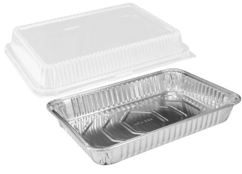Handi-Foil 13 x 9 Oblong Aluminum Foil Disposable Cake Pan with Clear Dome Lids - HFA REF # 394-WDL (Pack of 12 Sets)