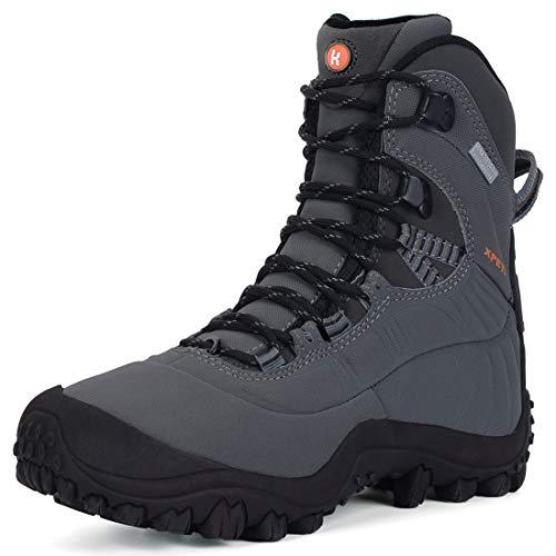 XPETI Women's Thermator Mid High-Top Waterproof Hiking Boot Antiskid Outdoor Work Boot Light Grey 11