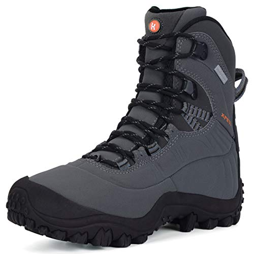 XPETI Women's Thermator Mid High-Top Waterproof Hiking Boot Mountaineering Outdoor Boot Light Grey 8.5
