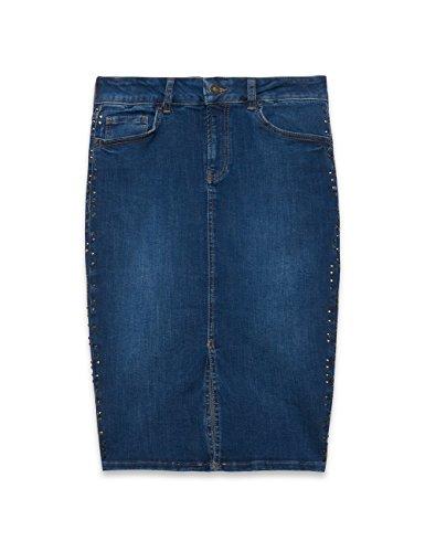 Oltre : Gonna Tubino in Jeans con Spacco Centrale. Blu 40 (Italian Size)