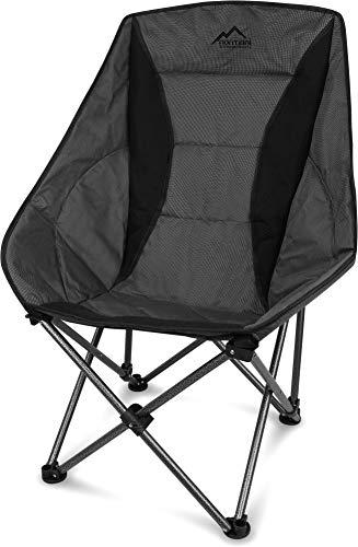 normani XXL Campingsessel Camping-Comfort-Freizeitstuhl gepolsterter Faltstuhl Moon-Chair mit Tragetasche in unterschiedlichen Farben - bis 150 Kg belastbar Farbe Grau